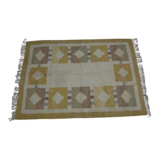 "Swedish Flat Weave Rug - 4'8"" X 6'5"" For Sale"