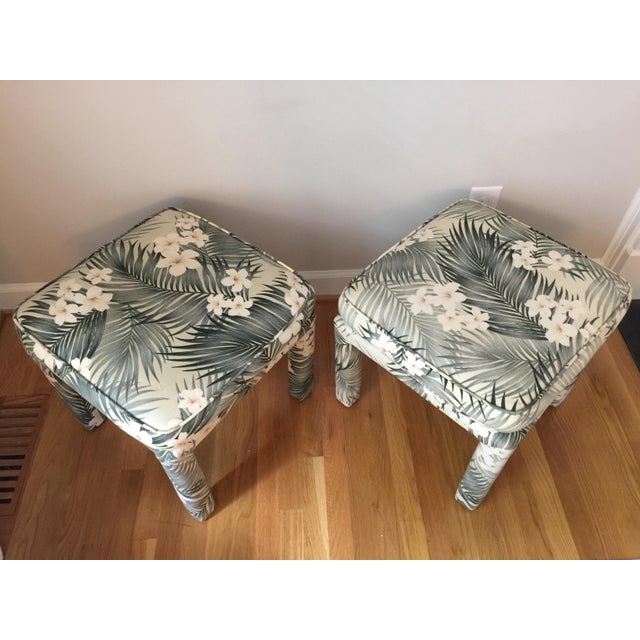 Parsons Stools With Palm Leaf Fabric - A Pair For Sale - Image 4 of 11