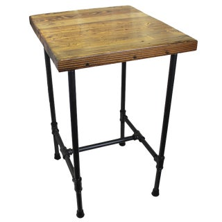Natural Geo Dublin Rustic Pipe Wooden End Table For Sale