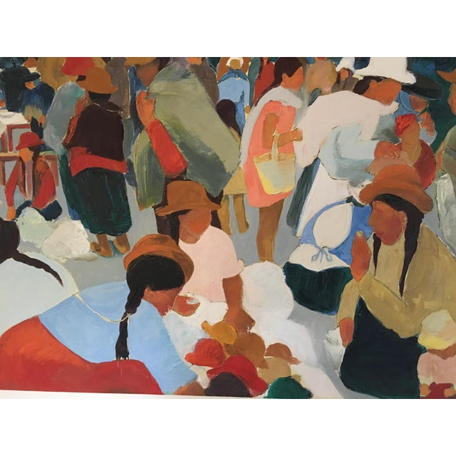 Modern Contemporary Colorful Market Scene Oil Painting - Image 5 of 7