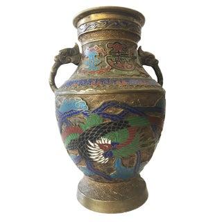 Vintage Japanese Phoenix & Dragon Champleve Enamel Vase For Sale