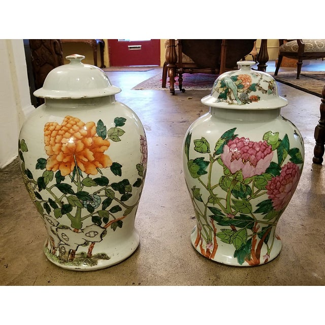 Gray Qing Dynasty Lidded Ginger Jars - a Pair For Sale - Image 8 of 13