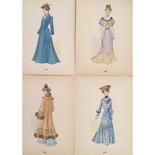 Original 1902 French Fashion Plates - Set of 4
