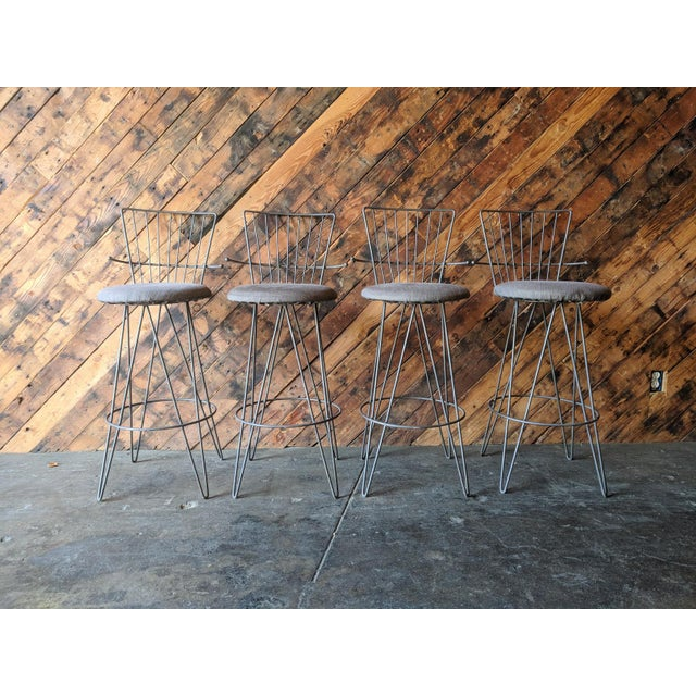 Gray Mid Century 1950's Atomic Barstools For Sale - Image 8 of 8