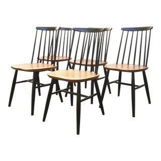 Vintage Danish Spindle Black Dining Chairs - Set of 5