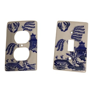 Maitland Smith Style Pagoda Porcelain Cobalt Blue Wall Switches - a Pair For Sale