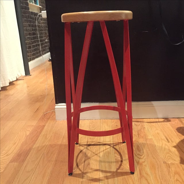 Industrial Reatoration Hardware Bar Stools - Pair For Sale - Image 3 of 3