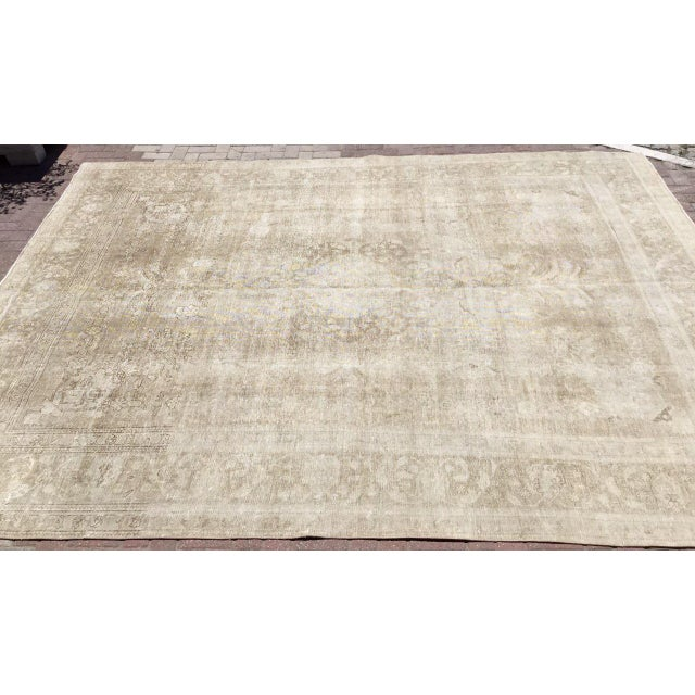 Oversized Antique Distressed Hand Knotted Oushak Rug For Sale - Image 4 of 11
