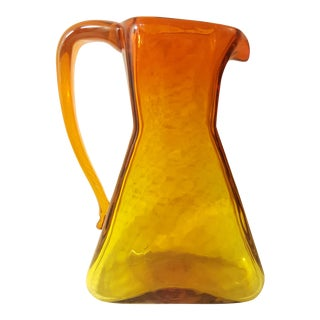 Blenko Glass Mid-Century Modern Amberina Pitcher For Sale