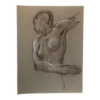 1984 Figurative Female Nude Drawing For Sale