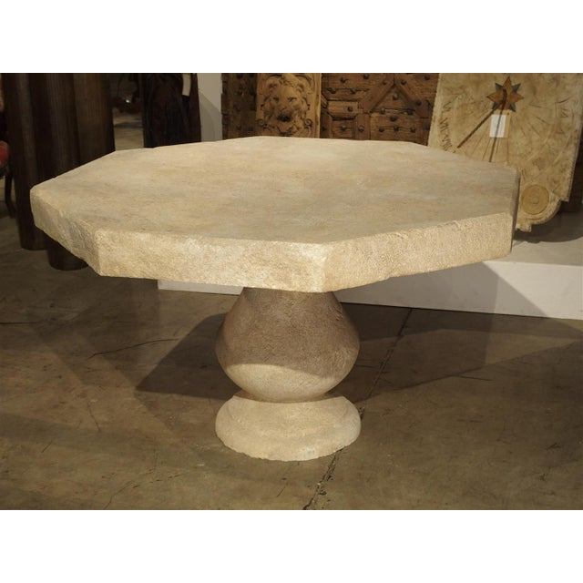 2010s Carved Octogonal Limestone Table from Provence France For Sale - Image 5 of 9