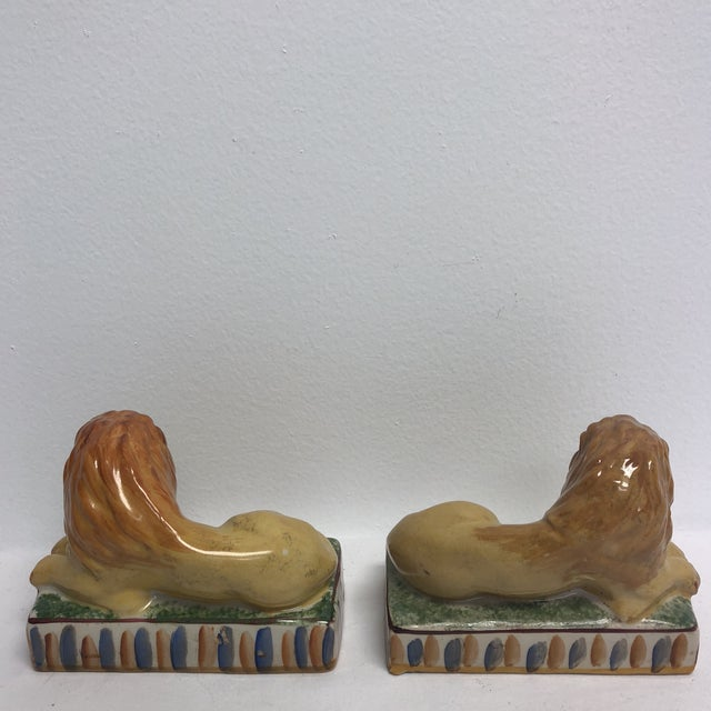Staffordshire Staffordshire Style Ceramic Lion Figurines- a Pair For Sale - Image 4 of 5