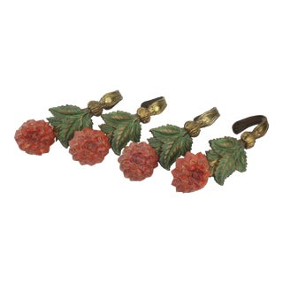 Victorian Gilt Metal Flower Curtain Tiebacks, Two Pairs For Sale