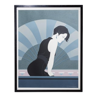 A Framed Art Deco Style Limited Edition Print of a Woman 1980s For Sale