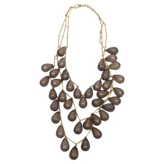1970s Vintage Three Strand Teardrop Faceted Resin Necklace For Sale
