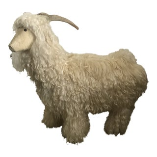 Claude LaLanne Inspired Sheep Sculpture, Bench. Covered in Shearling Fur and Horns. Circa 1967 For Sale