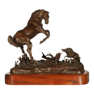 MOTHER TROUBLE Bronze Horse and Foal Sculpture For Sale