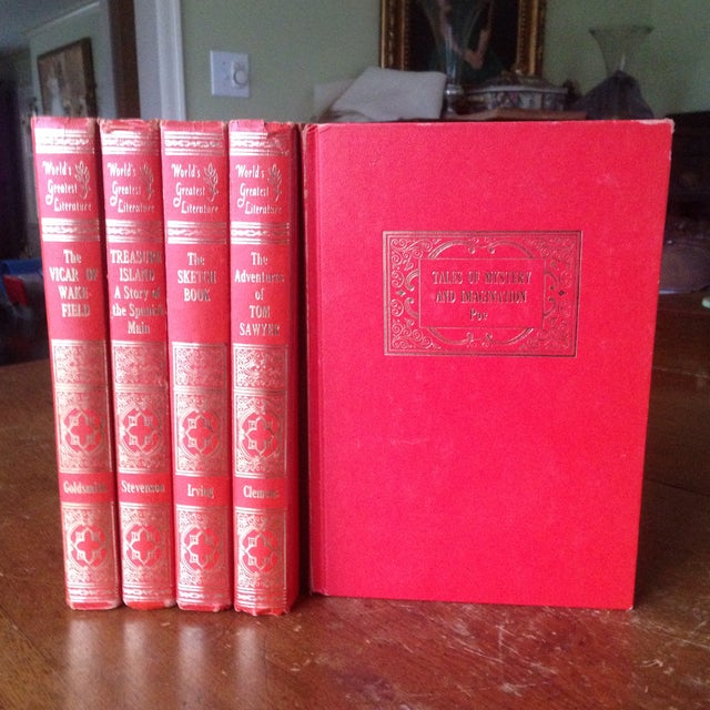 Mid-Century Decorative Red & Gold Classic Books - Set of 5 - Image 2 of 11