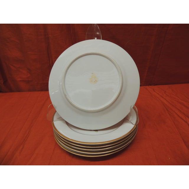 Set of (6) Pink Roses Porcelain Dessert Plates With Gold Details. For Sale - Image 4 of 5