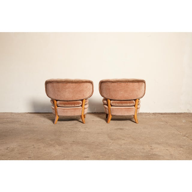 Fabric Pair of Otto Schulz 'Schultz' Easy Chairs, Sweden, 1940s-1950s For Sale - Image 7 of 11