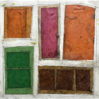 "Gina Cochran ""Necessity of Play No. 6"" Encaustic Collage Painting For Sale"