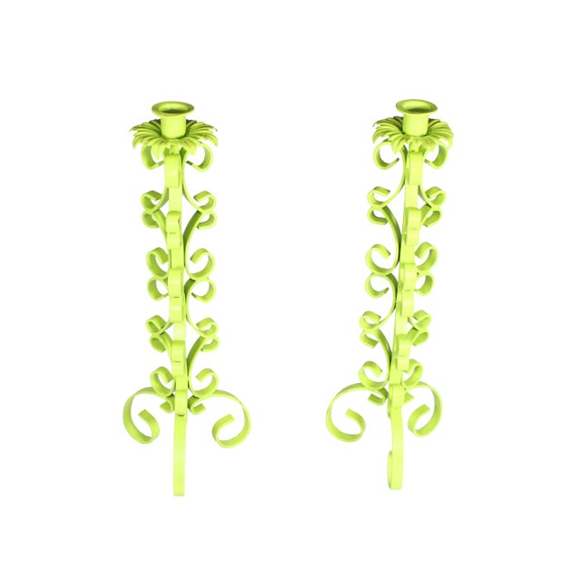 1970s Chartreuse Wrought Iron Taper Candlestick Holder - a Pair For Sale