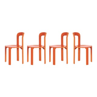 Mid-Century Modern Swiss Classic Orange Chairs by Bruno Rey - Set of 4 For Sale