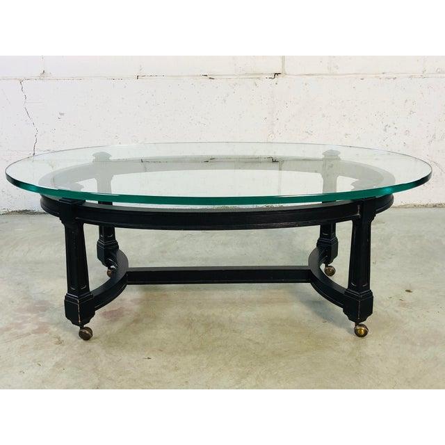 Vintage Oval Glass Top Black Wood Coffee Table Chairish