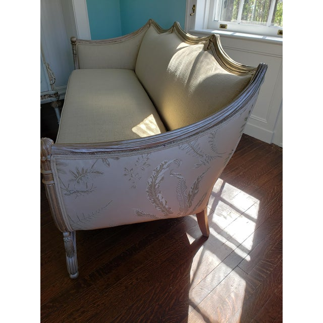 French Vintage Mid Century Off-White French Style Settee Sofa For Sale - Image 3 of 8