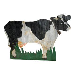 Folk Art Painted Tin Cow For Sale