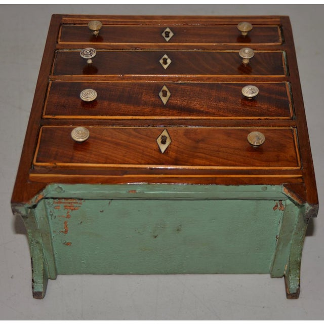 Mahogany 19th Century Miniature Mahogany Salesman Sample Chest of Drawers W/ Inlay For Sale - Image 7 of 12