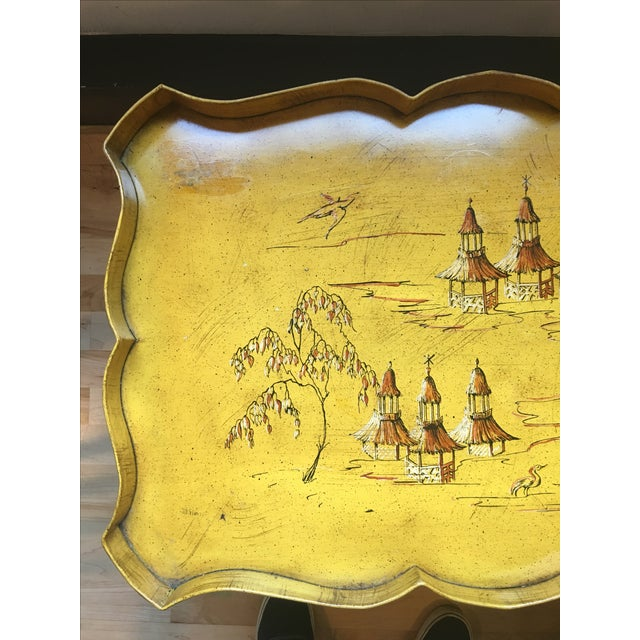 Yellow Pagoda Tole Tray Table - Image 3 of 7
