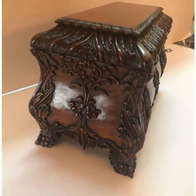 1990s Maitland-Smith Carved Mahogany Hinged Tea Caddy Box For Sale - Image 9 of 13
