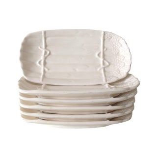 Porcelain Ceramic Asparagus Dishes - Set of 6 For Sale