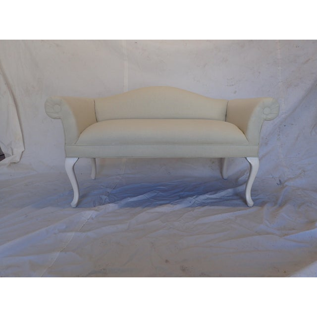Tan French Style Beige Settee For Sale - Image 8 of 8