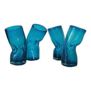 Mid-Century Turquoise Slumped & Dimpled Tumblers- Set of 4 For Sale