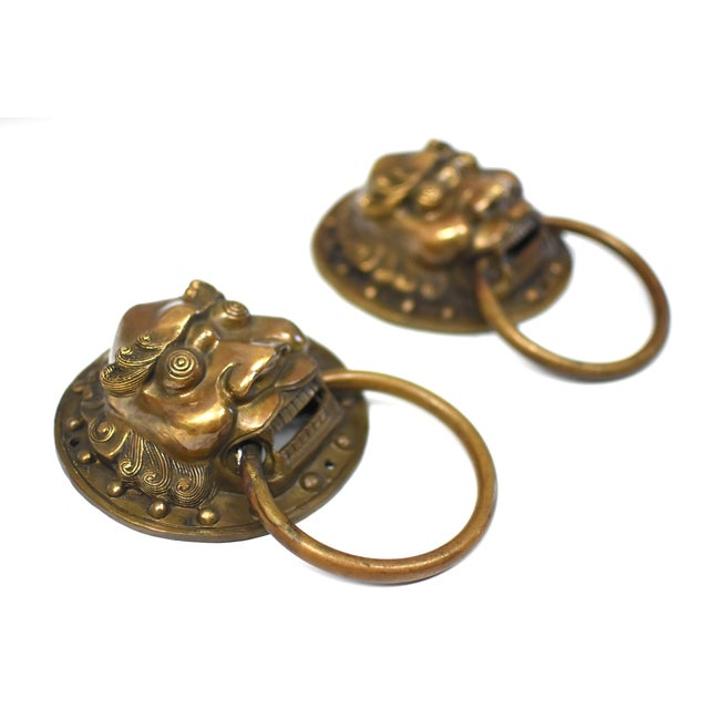 Brass Late 20th Century Vintage Warrior Door Knockers- a Pair For Sale - Image 7 of 13