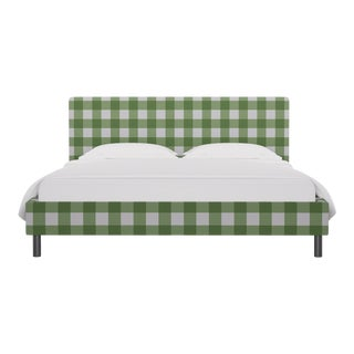 California King Tailored Platform Bed in Mint Check For Sale