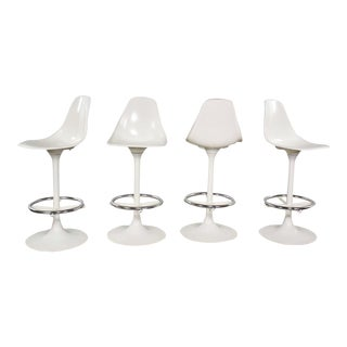 Set of Four Tulip Style White Swivel Barstools by Arthur Umanoff for Contemporary Shells For Sale