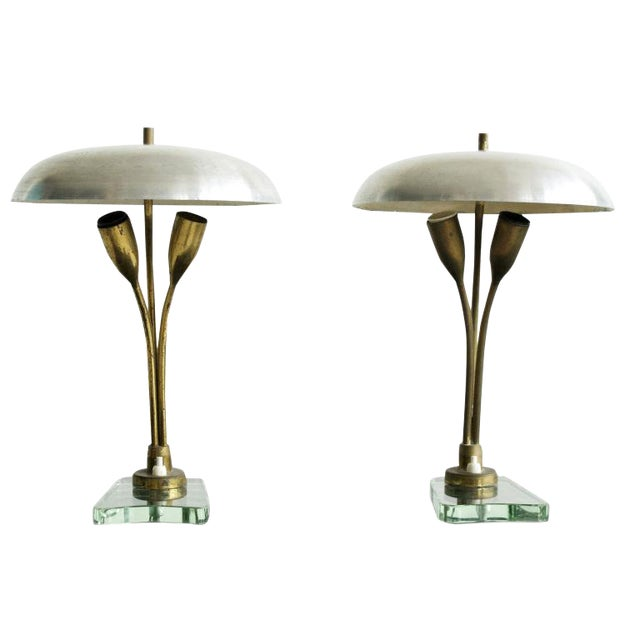Pair of Tulip Lamps For Sale
