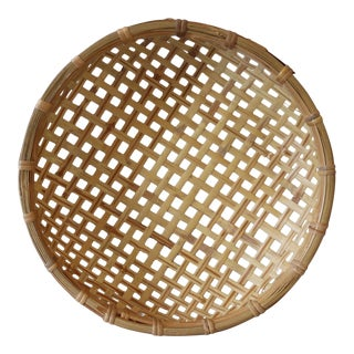 Vintage Woven Basket Tray Bowl Wall Hanging Round