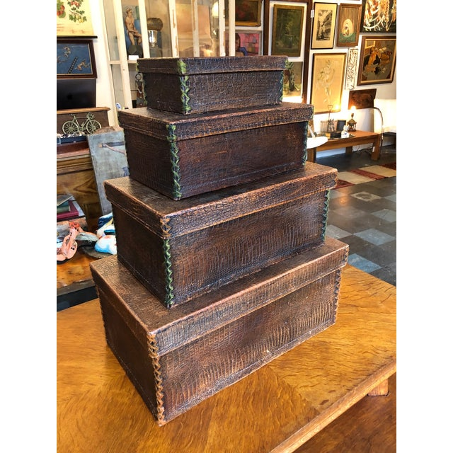 Antique Crocodile Nesting Boxes - Set of 4 For Sale - Image 13 of 13