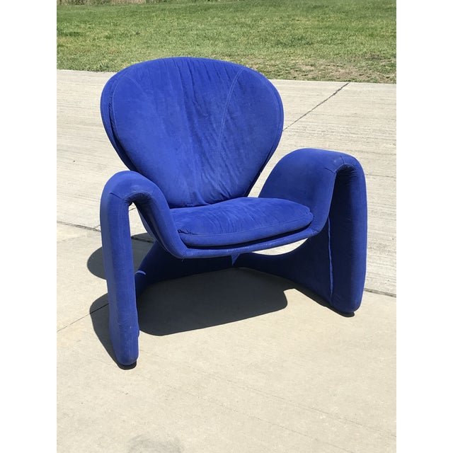 Royal Blue 1980s Vintage Post Modern Curvy Accent Chair For Sale - Image 8 of 10
