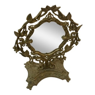 1960s Boho Chic Ornate Brass Table Mirror For Sale