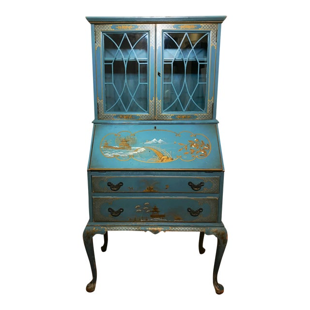 Mid Century Hand Painted Chinoiserie Blue Secretary Desk For Sale