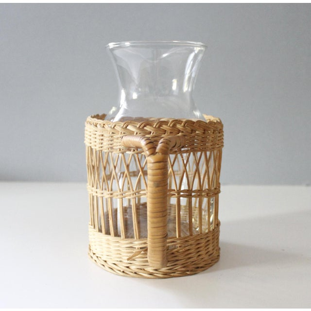 Early 21st Century Vintage Wicker & Glass Serving Pitcher and Cups Set of 7 Mid Century Boho For Sale - Image 5 of 9