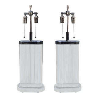 Chunky Pair of Karl Springer Style Lamps For Sale