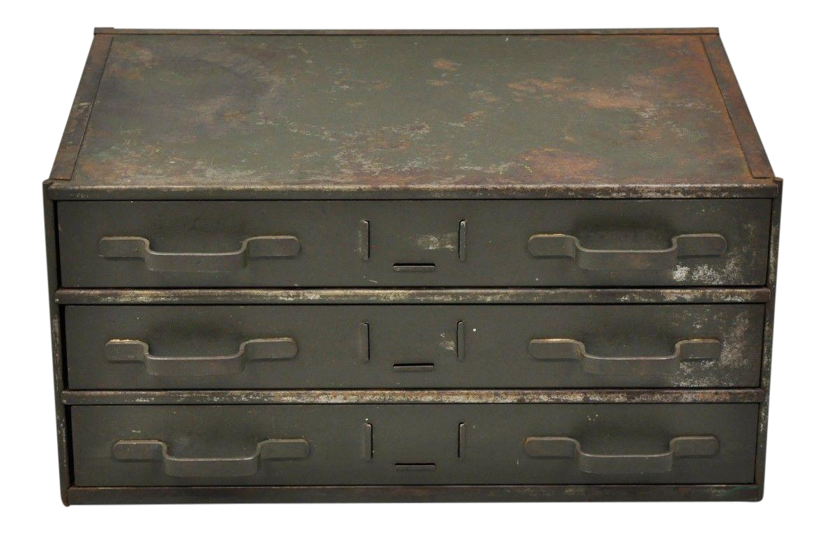 Item: Antique Industrial Small Green Steel 3 Drawer Storage Tool Chest  Details: Steel Construction