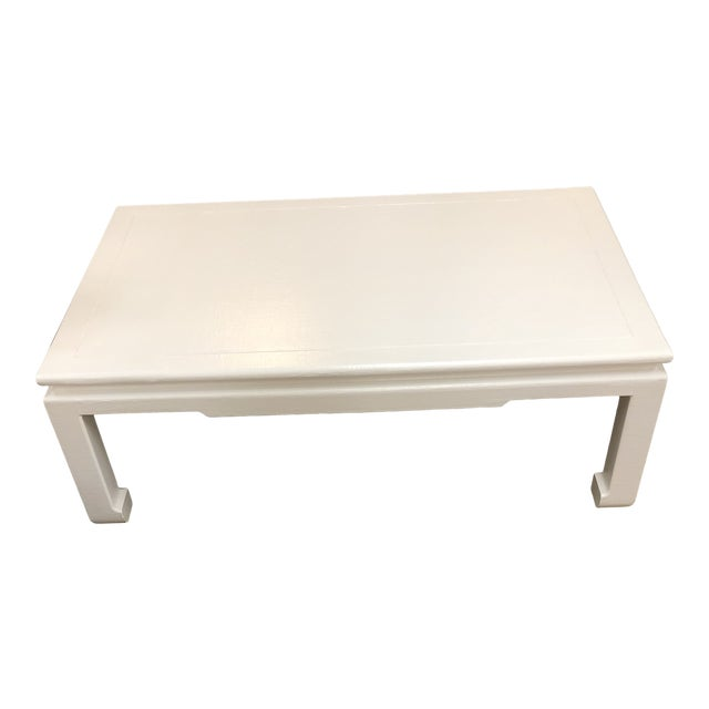 Linen Wrap Asian Style Coffee Table For Sale