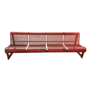 Mid Century Red Iron and Steel Bench For Sale